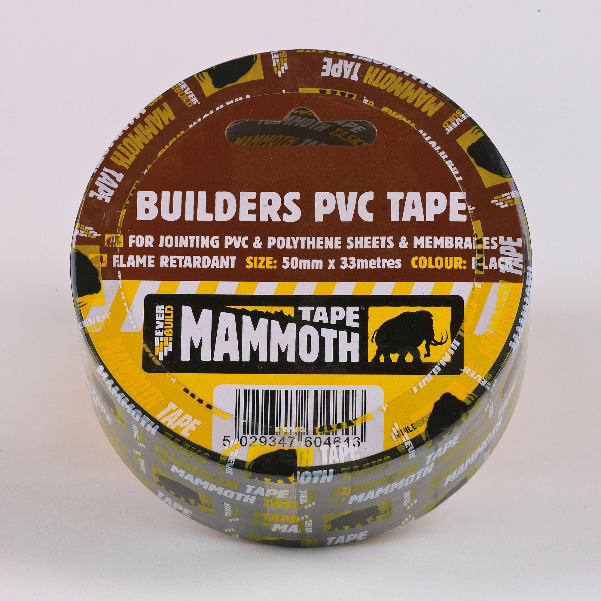 BUILDER'S PVC TAPE 75MM X 33M BLACK
