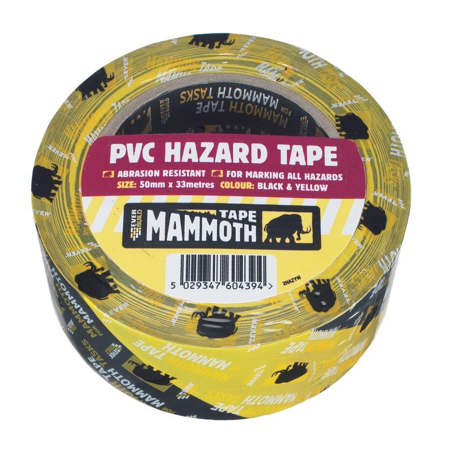 PVC HAZARD WARNING TAPE 50MM X 33M BLACK/YELLOW