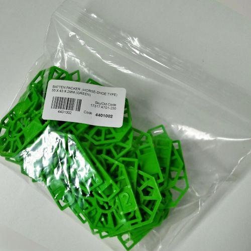 HORSESHOE BATTEN PACKER  55 X 43 X  2MM (GREEN)