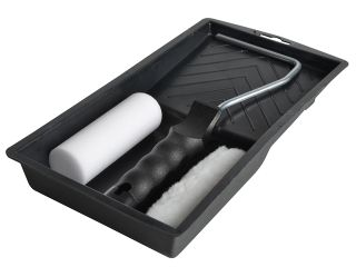 "FAITHFULL MINI PAINT ROLLER KIT 100MM (4"") (TRAY, FRAME, 2X REFILLS)"
