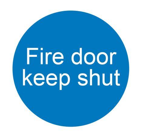 SIGN - FIRE DOOR KEEP SHUT - SELF ADHESIVE 76MM DIA