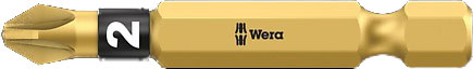 SCREWDRIVER INSERT BIT - WERA POZI PZ2 X  50MM BI-TORSION EXTRA HARD (GOLD)