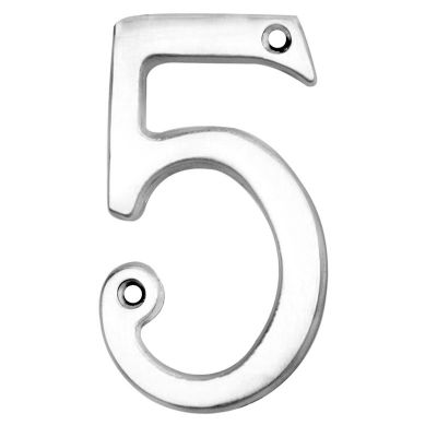 "ARCHITECTURAL FACE-FIX NUMERAL 76MM (3"") NO.5 POLISHED CHROME"