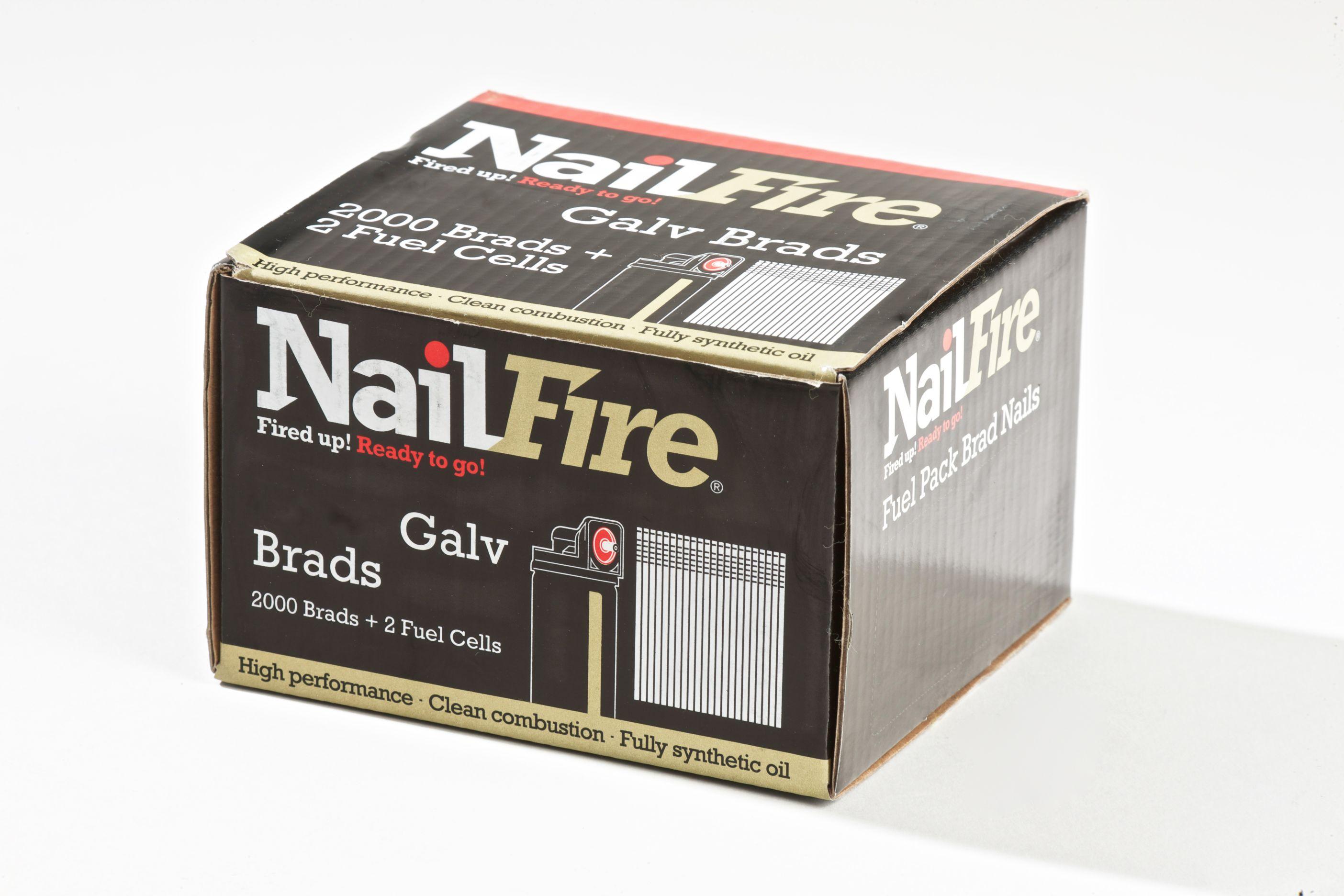 NAILFIRE 2ND FIX STRAIGHT E-GALV BRAD & FUEL PACK 25MM (TUB OF 2000)