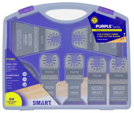 SMART 'PURPLE SERIES' - 7PC TITANIUM ALLOY BI-METAL MULTI-TOOL BLADE SET/KIT