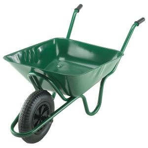 90 LTR GREEN CONTRACTORS WHEEL BARROW WITH PNEUMATIC TYRE