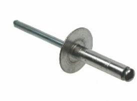 RIVET - ALUMINIUM/STEEL LARGE FLANGE HEAD 4.8 X 12MM (14MM FLANGE OD)