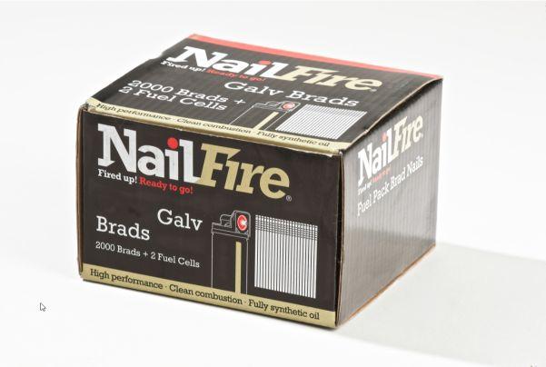 NAILFIRE 2ND FIX STRAIGHT E-GALV BRAD & FUEL PACK 19MM (TUB OF 2000)