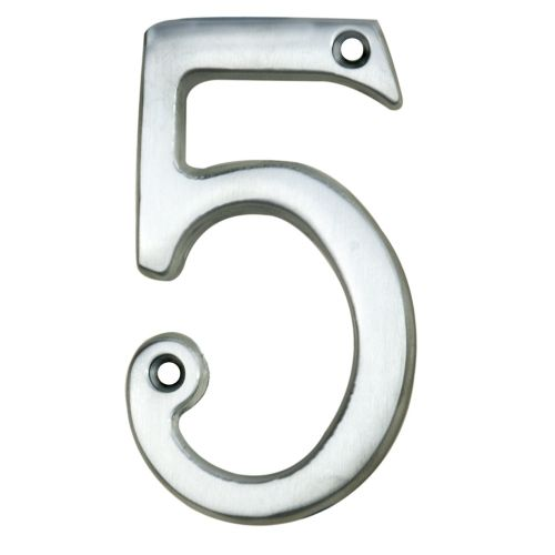 "ARCHITECTURAL FACE-FIX NUMERAL 76MM (3"") NO.5 SATIN CHROME"