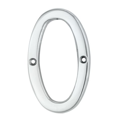 "ARCHITECTURAL FACE-FIX NUMERAL 76MM (3"") NO.0 POLISHED CHROME"