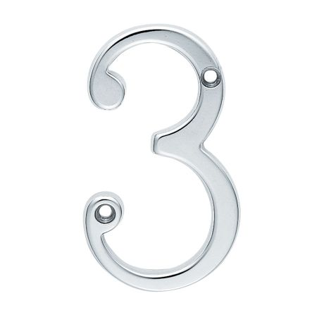 "ARCHITECTURAL FACE-FIX NUMERAL 76MM (3"") NO.3 POLISHED CHROME"