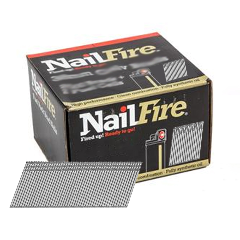 NAILFIRE 2ND FIX ANGLED STAINLESS STEEL BRAD & FUEL PACK 64MM (TUB OF 2000)