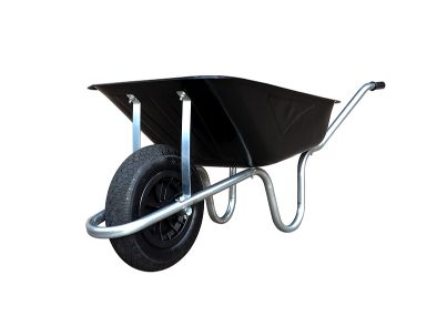 85 LTR BLACK BUILDERS WHEEL BARROW WITH PNEUMATIC TYRE