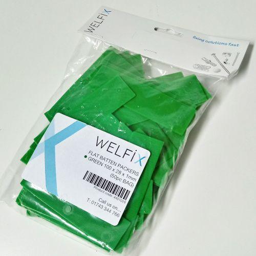 FLAT BATTEN PACKERS 28 X 100 X 1MM (GREEN - PACK OF 50)