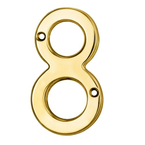 "ARCHITECTURAL FACE-FIX NUMERAL 76MM (3"") NO.8 POLISHED BRASS"