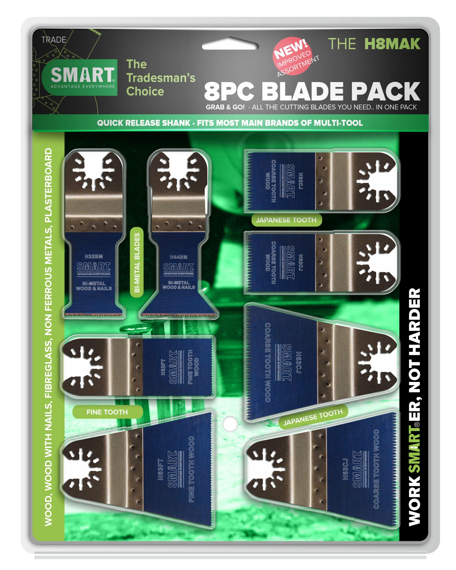 SMART TRADE - 8PC MULTI-TOOL BLADE SET/KIT (OPEN-BACK QUICK-RELEASE SHANK)
