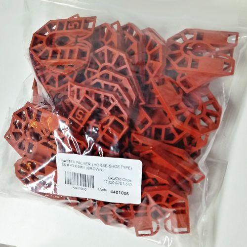 HORSESHOE BATTEN PACKER  55 X 43 X  5MM (BROWN)