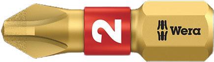 SCREWDRIVER INSERT BIT - WERA PHILLIPS PH1 X  25MM BI-TORSION EXTRA HARD (GOLD)