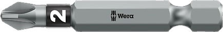 SCREWDRIVER INSERT BIT - WERA POZI PZ1 X  50MM BI-TORSION EXTRA TOUGH (SILVER - IMPACT RESISTANT)