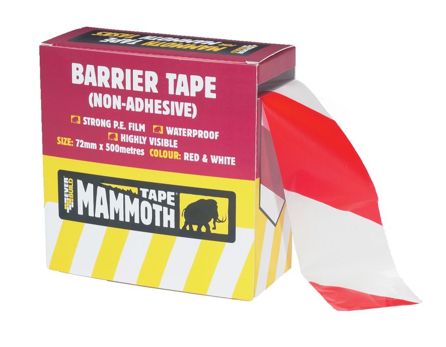 BARRIER TAPE - NON ADHESIVE 72MM X 500M RED/WHITE