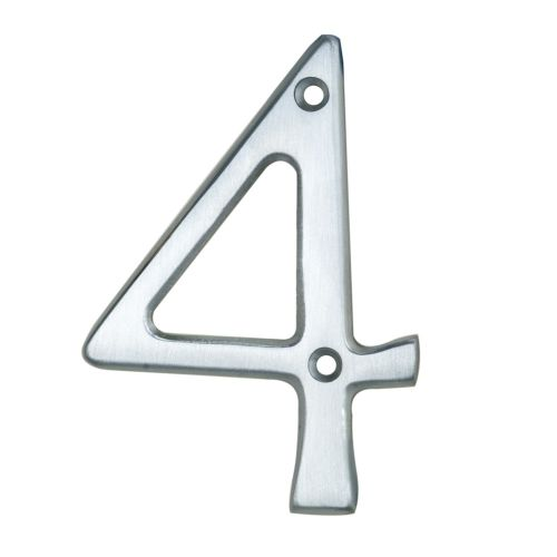 "ARCHITECTURAL FACE-FIX NUMERAL 76MM (3"") NO.4 SATIN CHROME"
